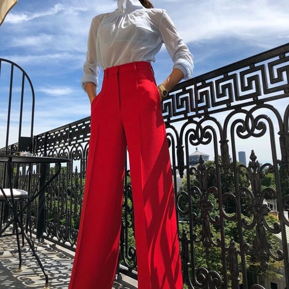 find workmanship online for sale buying now RED CROPPED WIDE LEG TROUSERS BY ZARA, L